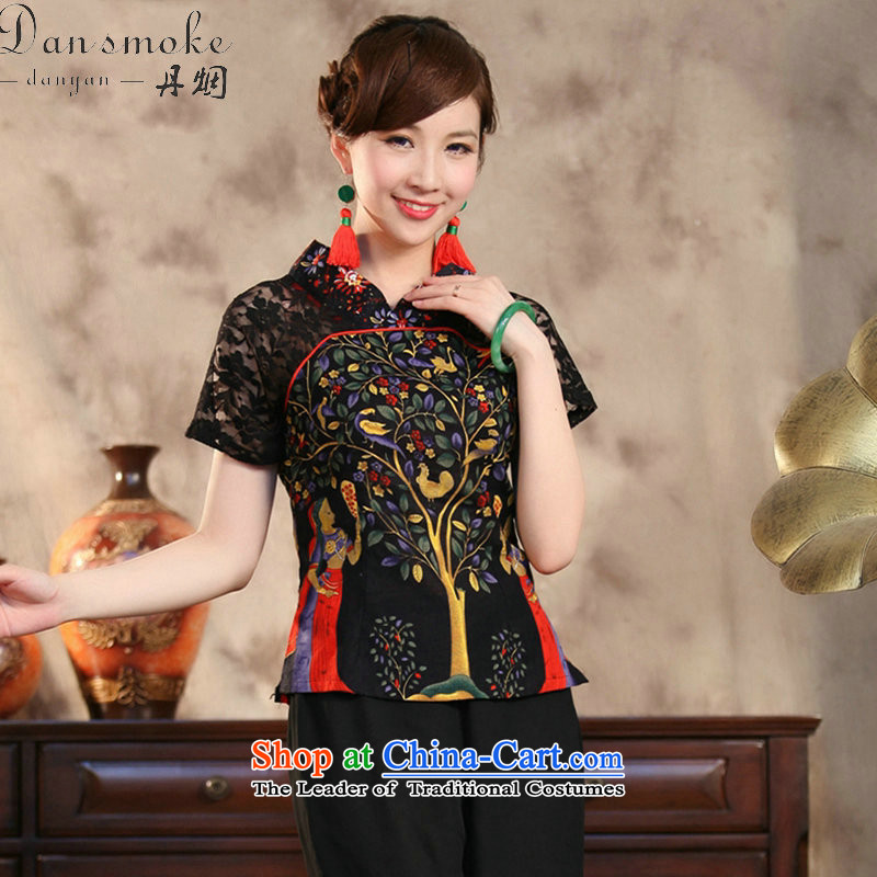 Dan smoke summer new stylish ethnic Ms. improved cotton linen lace hand-painted large short-sleeved blouses monetization of Tang?XL