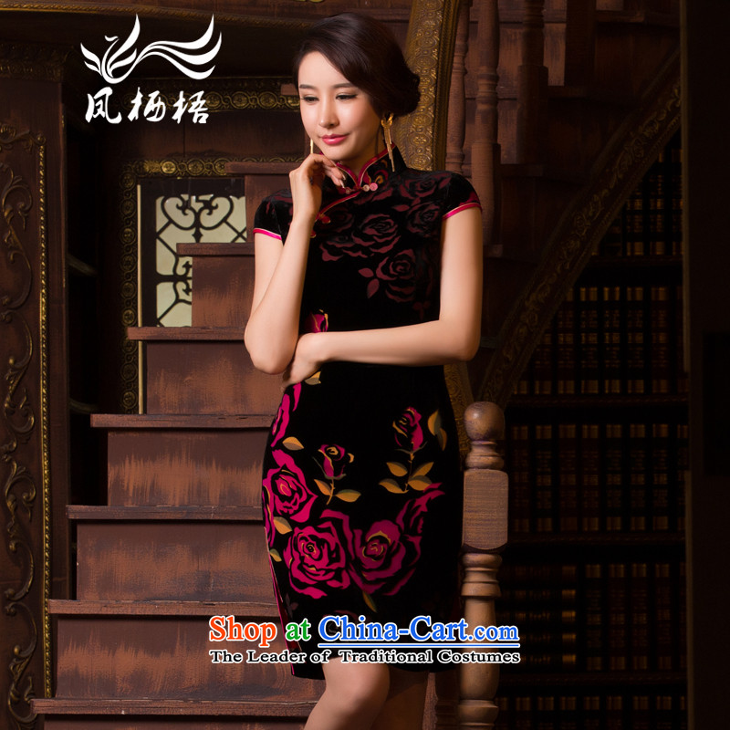 7475 Flower-bong-migratory 2015 Summer new retro-cashmere qipao daily fashion Sau San short-sleeved qipao DQ15109 skirt the saffron聽M