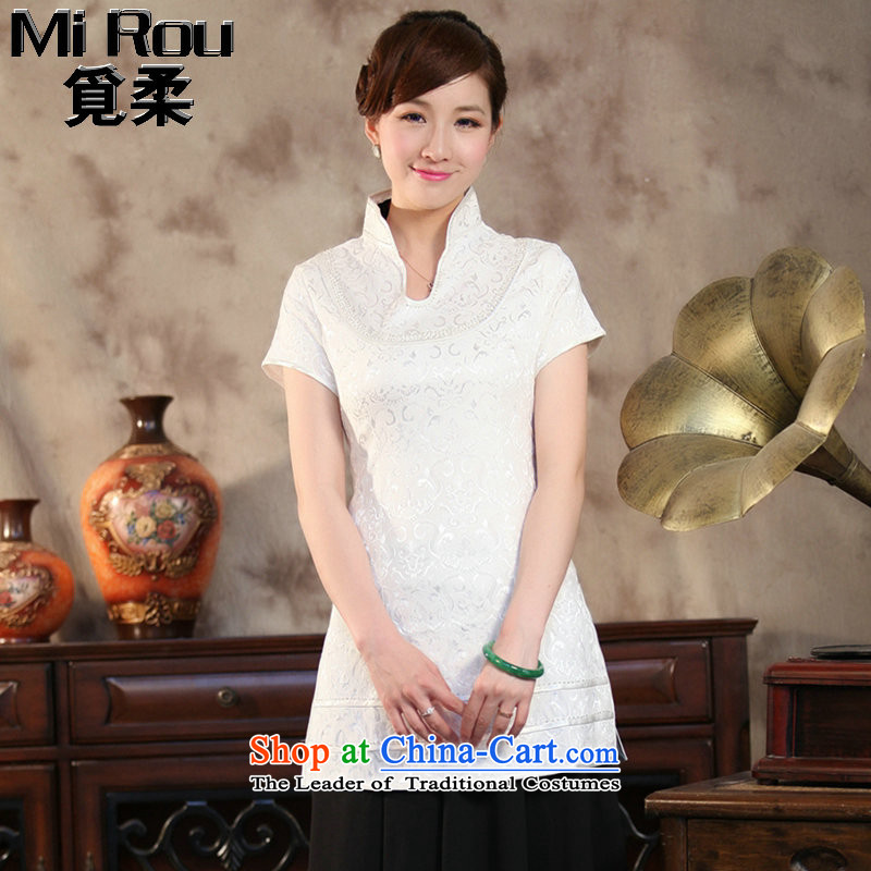Find the new summer Sophie female Tang Dynasty Chinese shirt qipao improvements in light collar long short-sleeved Tang dynasty figure color燤