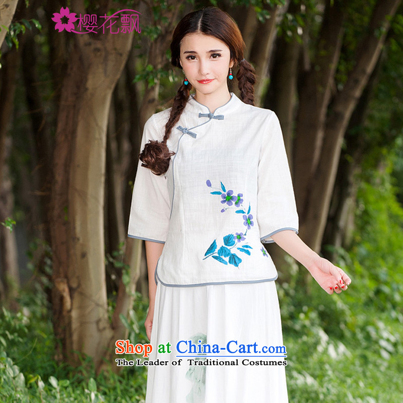 Sakura 2015 Autumn Breeze replacing cotton linen Han-China wind female Chinese Improved large qipao shirt?L