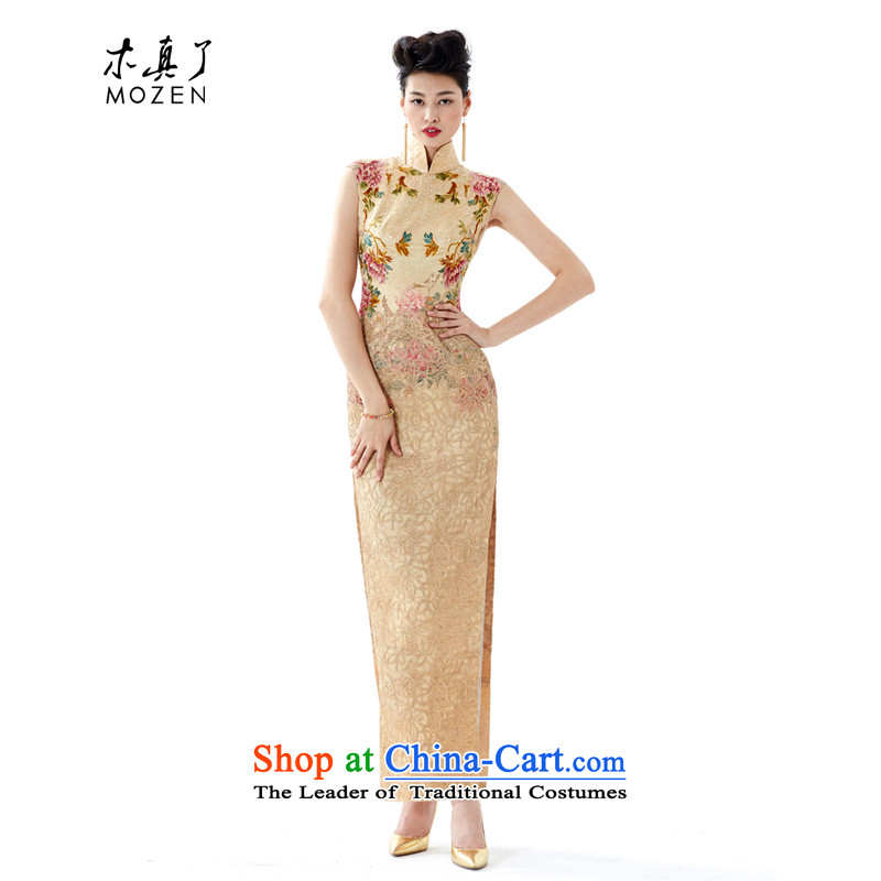 Wooden spring and summer of 2015 really new women's high-end qipao gown of gold embroidery on hand embroidery Silk Cheongsam 43060 Chip 13 Light yellow燣