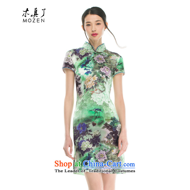 The women's true   the spring and summer of 2015, the new Silk poster printing short flag facade flowers classical style qipao 21906 15 green燣