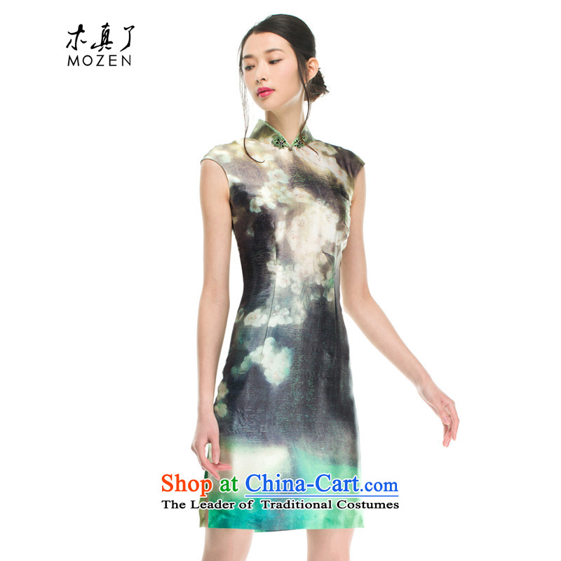 Wooden spring and summer of 2015 really new herbs extract romantic arts painting short qipao 21907 15燲XXL light green