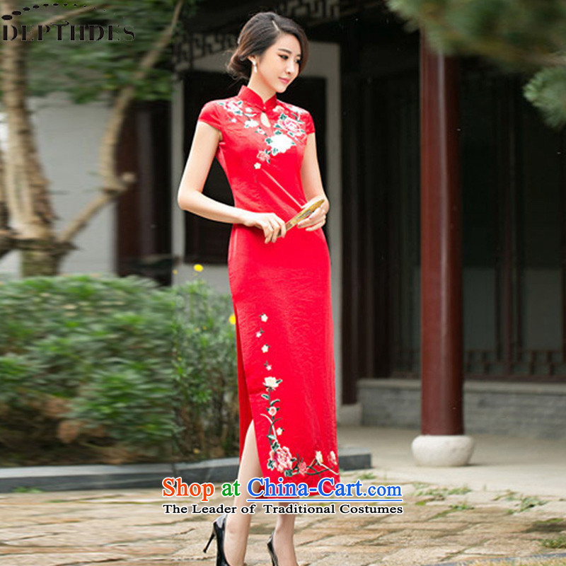 2015 new toasting champagne DEPTHDES Service Bridal wedding dress improved cheongsam long summer fashion of the forklift truck heavy industry embroidery Sau San video thin replicas red聽XL