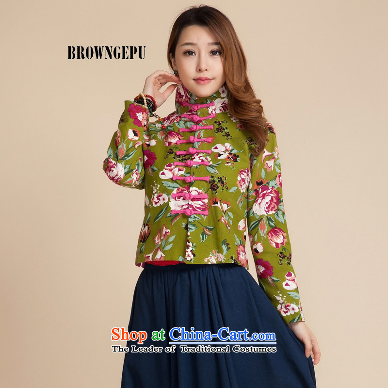 Brown BROWNGE_ jeep _new stylish ethnic blouses literary and artistic and elegant Chinese Classical China wind up the clip mock Wong Mudan燲L