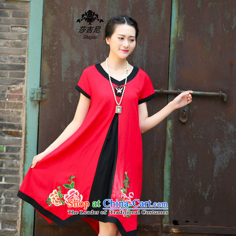 Elizabeth,�2015 NEW Summer stitching embroidery jacquard ethnic dresses cotton linen dress in long�C1132�RED�XL