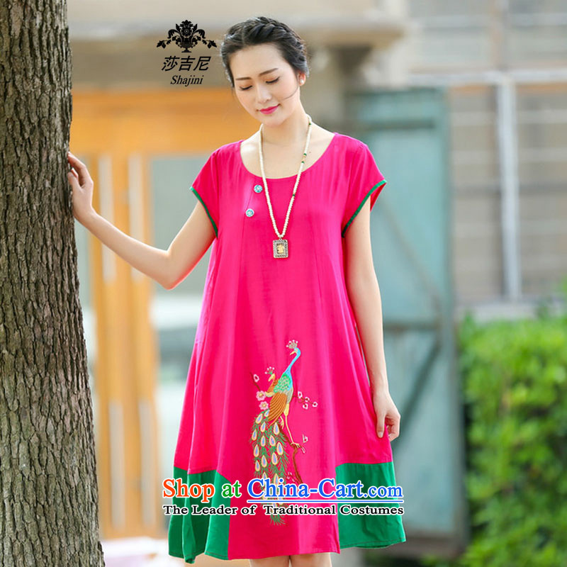 Elizabeth,�15 NEW Summer stitching embroidery jacquard ethnic dresses cotton linen dress in long爎ed燲XXL C1131 better
