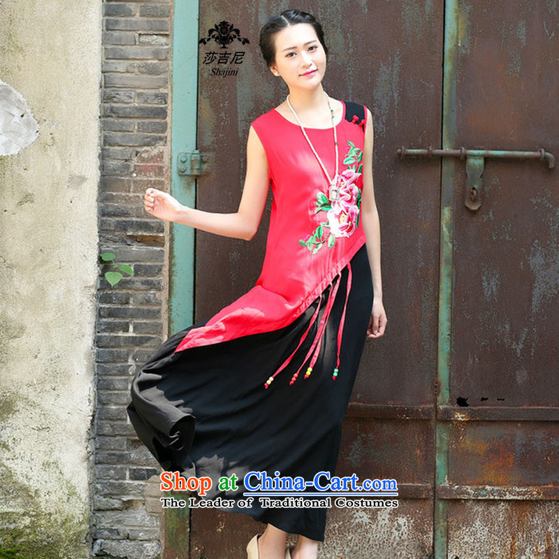 Elizabeth,�15. The elderly female Tang dynasty skirts summer new moms with large ethnic relaxd dress with a straight skirt燙1130牋XXXL red