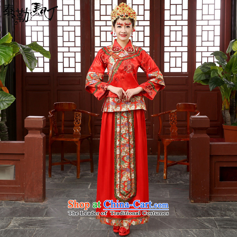 Martin Taylor marriages Chinese qipao gown long-sleeved retro lights chip-soo drink service wo service kimono-hi-load model ancient winter Head Ornaments聽XXL