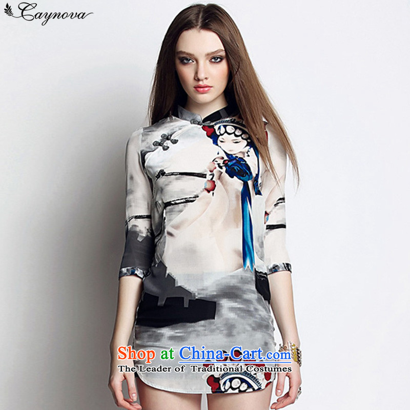 Caynova2015 new cheongsam summer dresses Silk Cheongsam pattern of feng shui national ink short skirts picture color?S