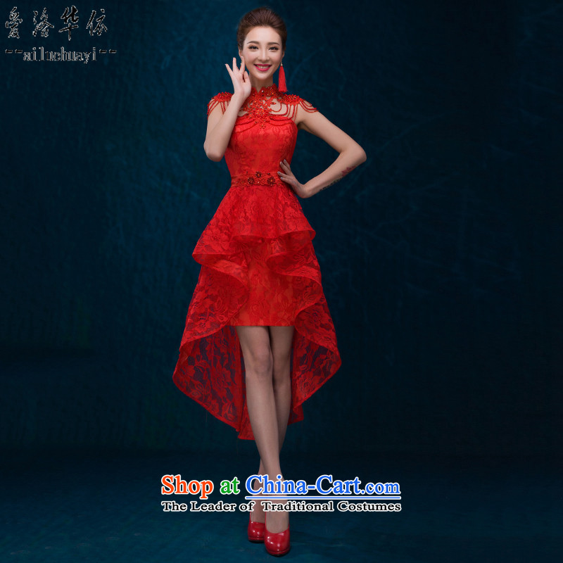 The Chinese in 2015 Love marriages short, bows to Mr Ronald stylish red lace dresses new cheongsam wedding dresses female former short long after wiping the chest shoulder link燣