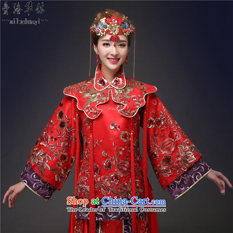 Sau Wo Service Bridal Chinese wedding dress red bows wedding dress retro qipao 2015 autumn and winter new kimono dragon pregnant women use su larger winter clothes cotton plus + Head Ornaments燲XL