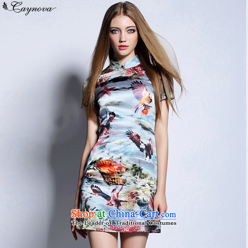 New retro caynova2015 China wind qipao summer 3D printing and dyeing shells bird pattern color photo of Sau San video thin燤