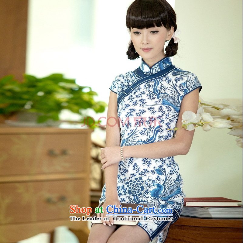 Cheong Wa gradually porcelain qipao 2015 Summer new improved Stylish retro cheongsam dress suit M