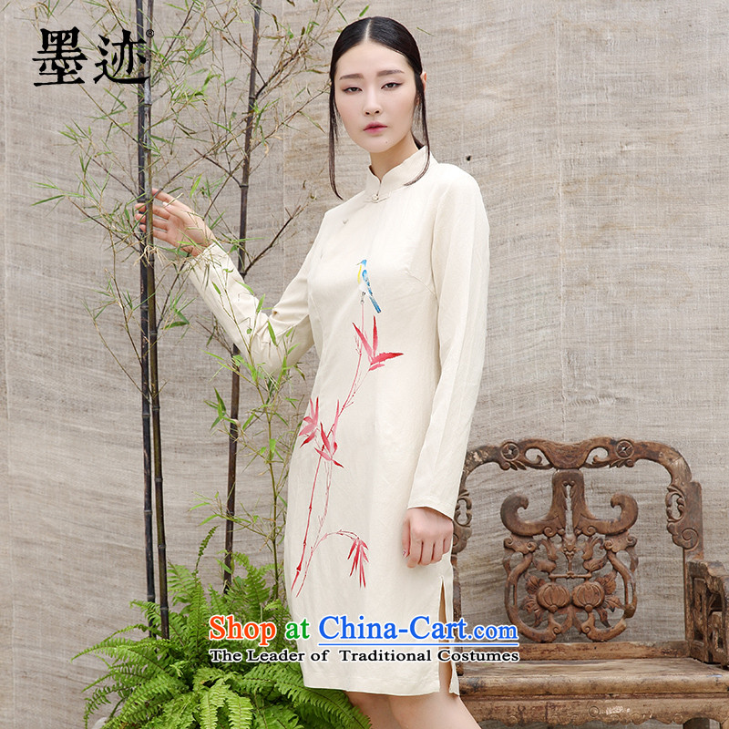 Ink China wind cotton linen dresses tea-girl of ethnic Chinese ink painting flax cloth for red bamboo oriole apricot燣