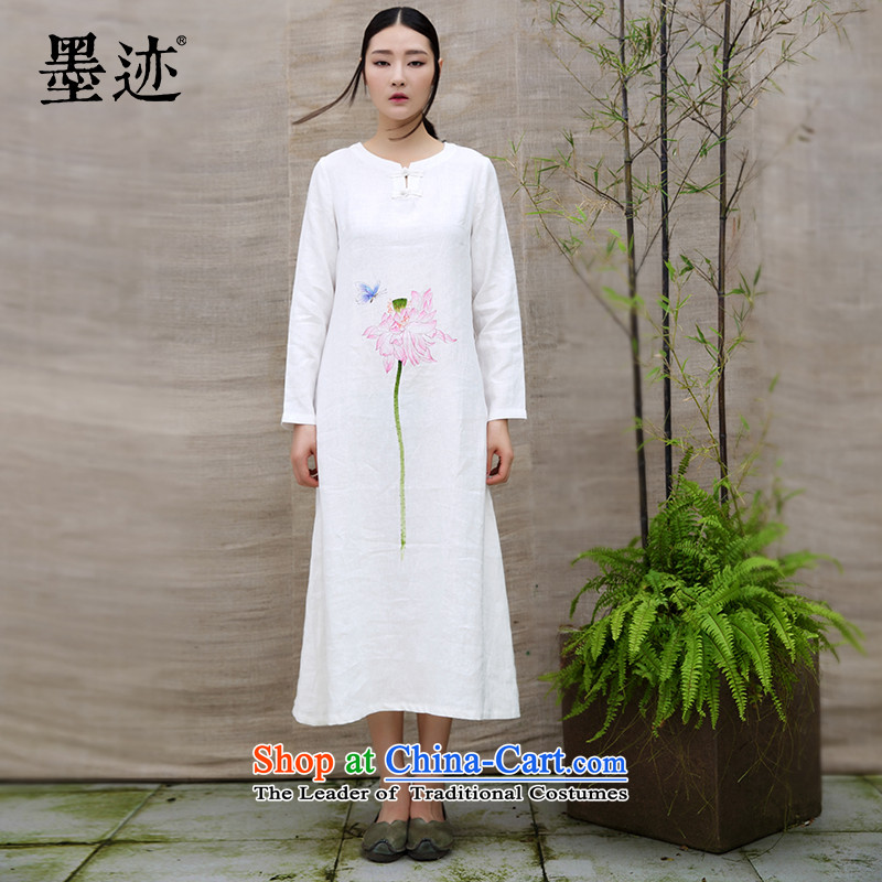 Ink cotton linen dresses improved Tang dynasty of ethnic Chinese Han-long hand painted art tea linen Cheongsams White聽XXL