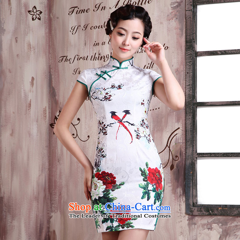 Millennium bride in爏pring and summer 2015 qipao gown trendy new improved retro-to-day short of qipao skirt Sau San female dresses X2025 wooden weaving燲L