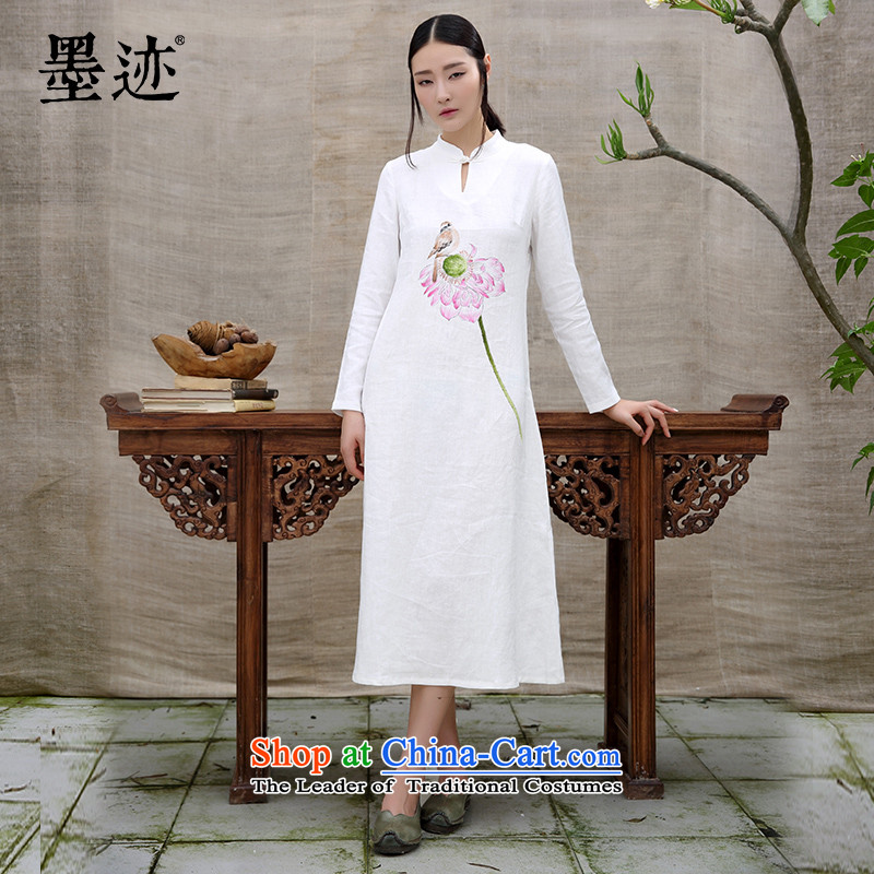 Ink hand-painted retro tea service improvement Tang branded Chinese Daily Han-cotton linen clothes women of the Republic of Korea Cheongsams White聽M