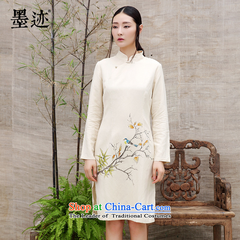 Ink cotton linen Chinese high-end load spring and autumn qipao new long-sleeved stylish 2015 improved retro long skirt qipao apricot燲L