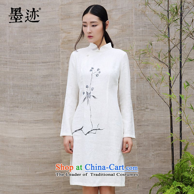Ink cotton linen spring intuition of the Tang Dynasty Chinese hibiscus female dresses long tea art linen long female white?M