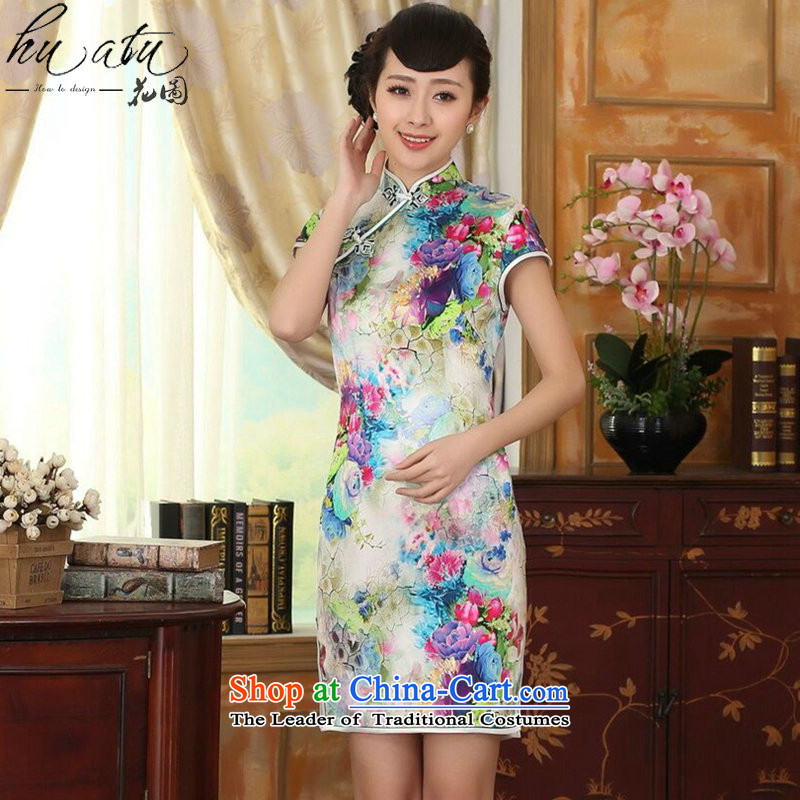 Spend the summer female qipao figure heavyweight silk retro herbs extract poster stretch of Sau San double short qipao figure color聽M