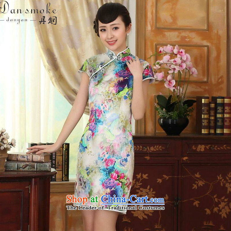Dan smoke summer female qipao heavyweight silk Retro classic herbs extract poster stretch of Sau San double short qipao Figure Color聽S, Dan Smoke , , , shopping on the Internet
