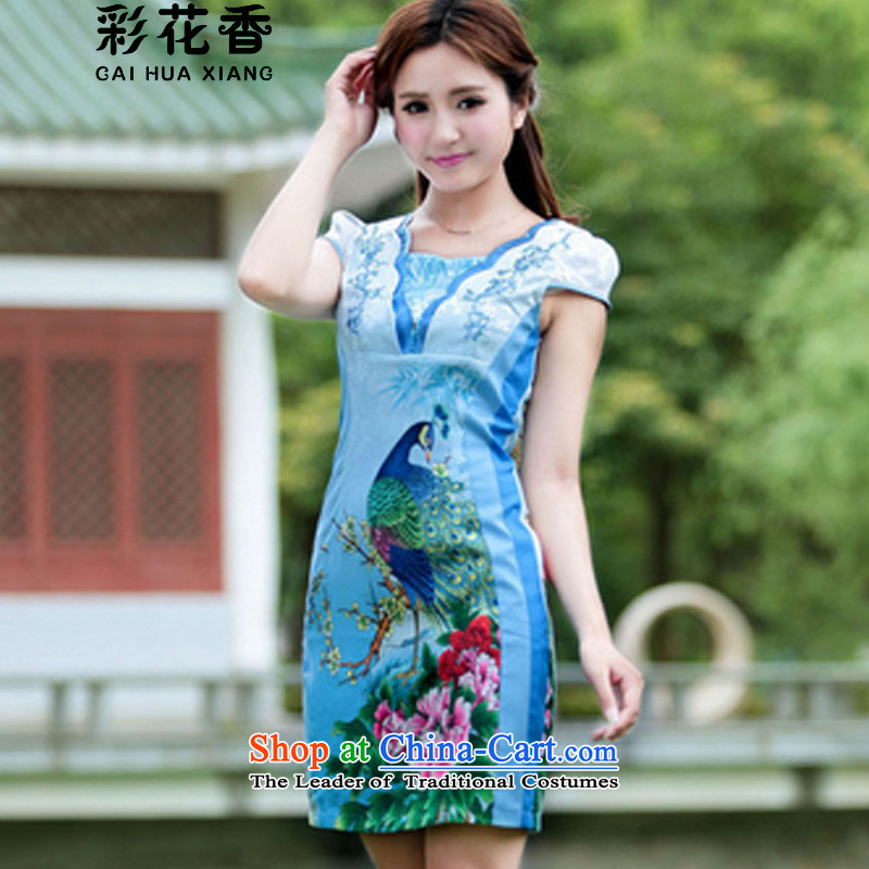 The fragrance of�15 Women's multimedia new peacock cheongsam dress Stylish retro summer is shorter_ cheongsam dress pink燲XL