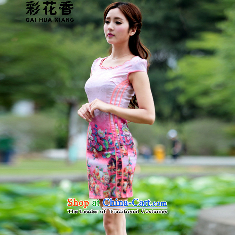 The fragrance of�15 New Multimedia stamp of qipao gown Stylish retro-color summer short of cheongsam dress pink燤