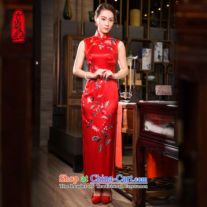 The Wu female red 2015 Summer red bows services plain manual embroidery Silk Cheongsam retro long marriage banquet dress heavyweight herbs extract燣
