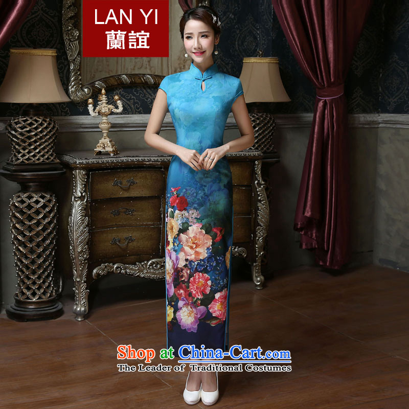 In the聽summer of 2015, Friends new improved daily qipao classic retro style qipao temperament Sau San silk thick pc stamp short skirt聽Q423 qipao聽Quality Assurance
