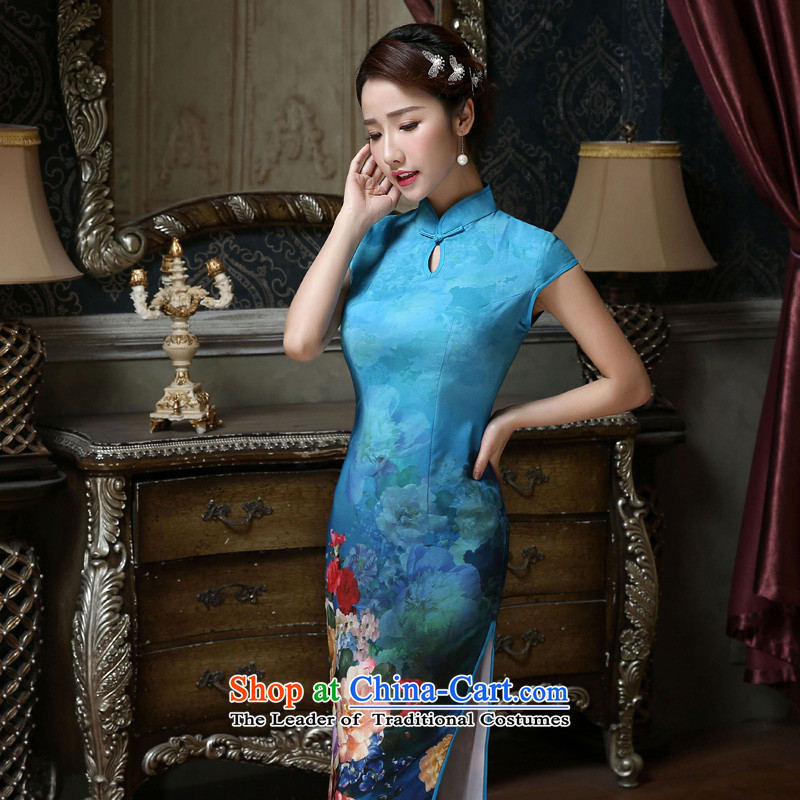 In the聽summer of 2015, Friends new improved daily qipao classic retro style qipao temperament Sau San silk thick pc stamp short skirt聽Q423 qipao聽quality assurance, Yi (LANYI) , , , shopping on the Internet