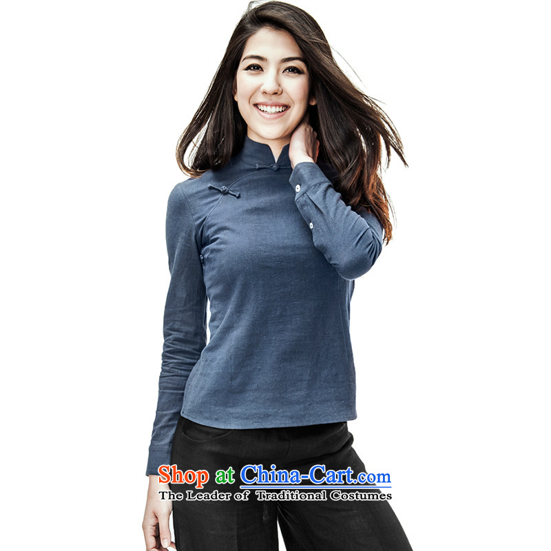 Seventy-Tang Original China wind women short of qipao shirt retro Sau San Tong boxed long-sleeved shirt cotton linen female Chinese Disc collar shirt clip is traversed by the Han-ethnic Tibetan blueS