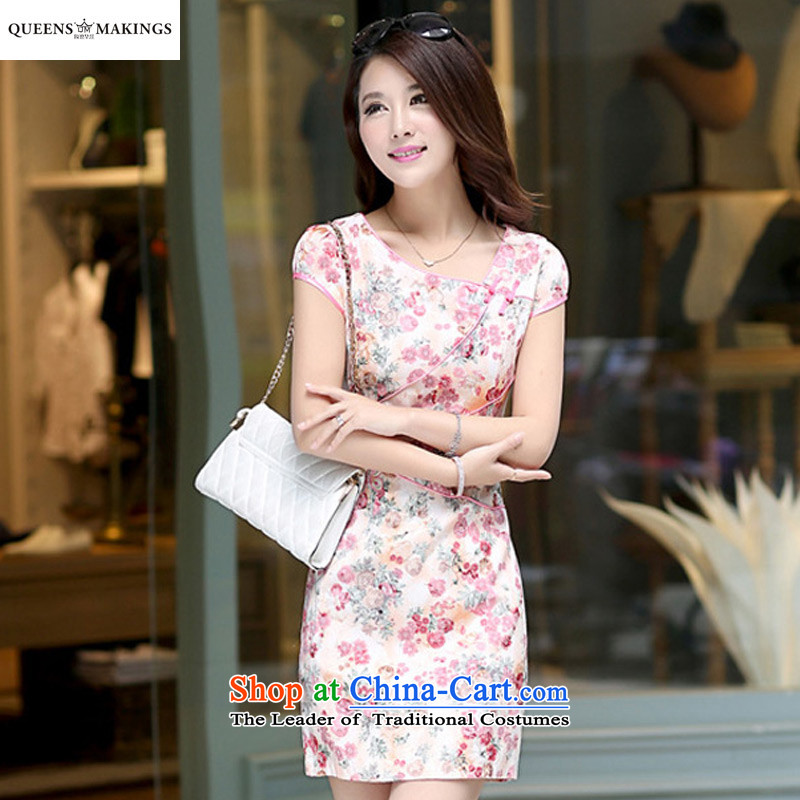 2015 Summer new stylish embroidered dress retro-collar short-sleeve national services cheongsam dress 1603 pink�XL
