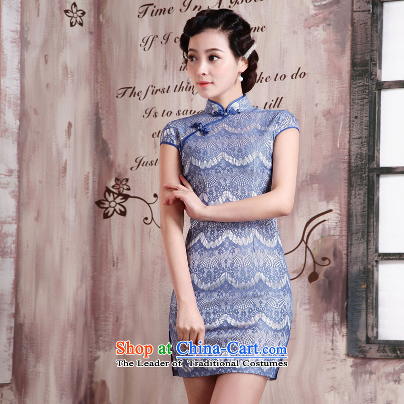 The Millennium?Assembly spring and autumn 2015 bride new lace Sau San video thin stylish qipao improved temperament and sexy body short of retro dresses X2092 Land dumping city?XL