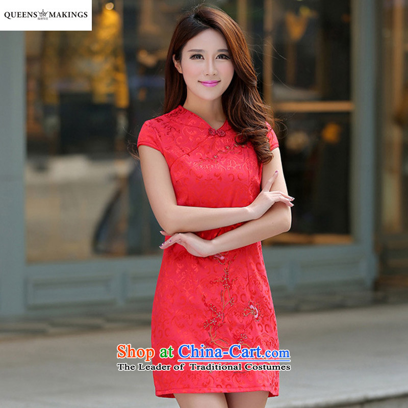 2015 Summer New Stylish retro dresses qipao sleeveless national women's service of short skirt 1604 Red燲L