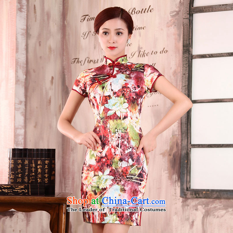 Millennium bride爄n the spring of 2015, the new elderly mother with retro flowers dresses and the relatively short time, the improvement of lotus flowers daily qipao X162 HUI XIN燲L