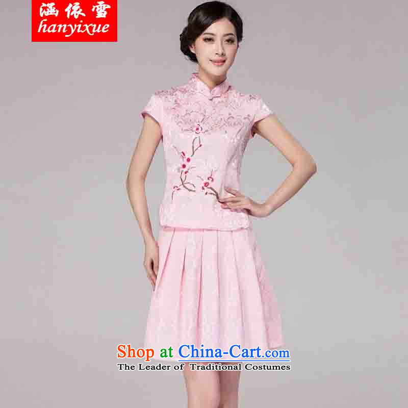 In accordance with the snow covered by the spring and summer of 2015, Tang dynasty new women's improved daily cheongsam dress retro look stylish two kit pink燲XL