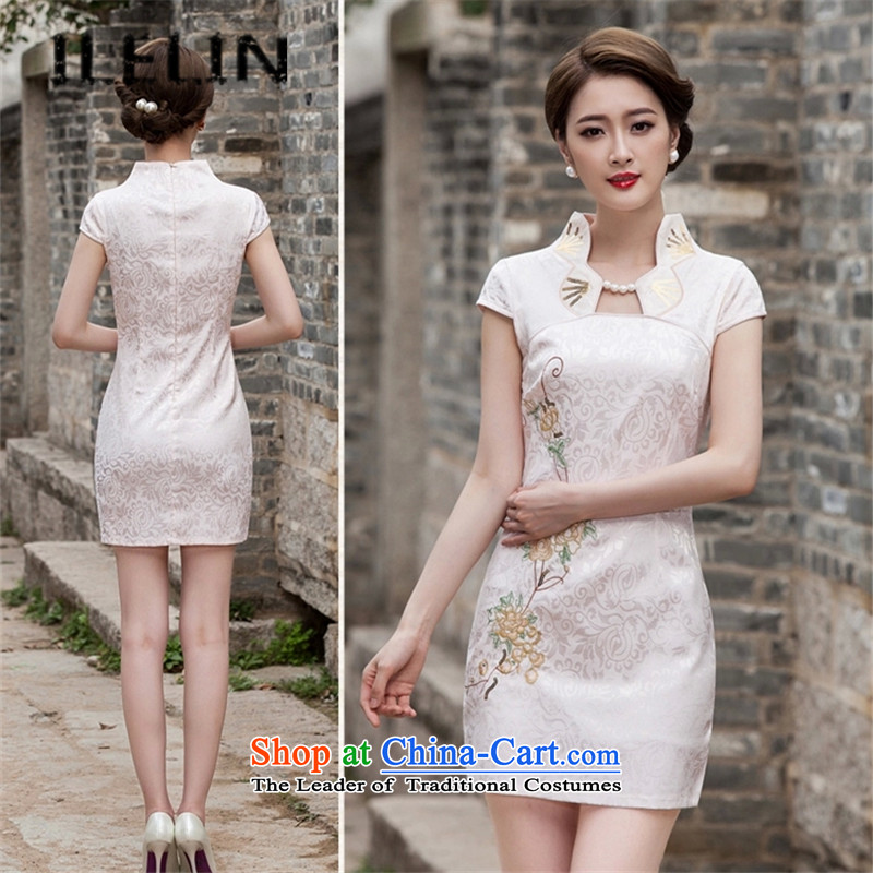Mr Ronald, elegance ILELIN2015 embroidery cheongsam dress suit improved graphics outside Sau San stylish thin breasted qipao gown daily, apricot燤
