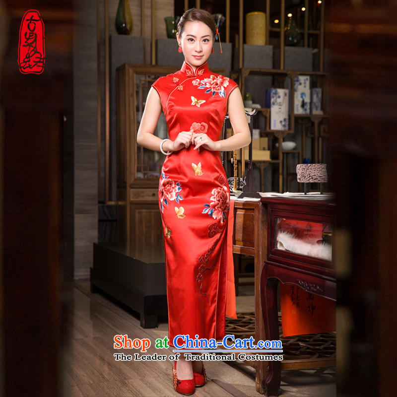 The Wu female red 2015 Summer Ms. new red silk cheongsam dress retro long marriage bows dress handicraft embroidery Xiangyun Mudan燤