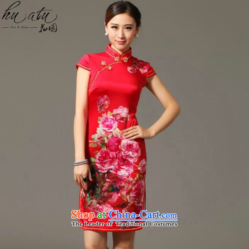 Figure for summer flowers New President Dos Santos Silk Cheongsam digital inkjet stretch back door bows service Elegant Silk Cheongsam figure聽3XL color
