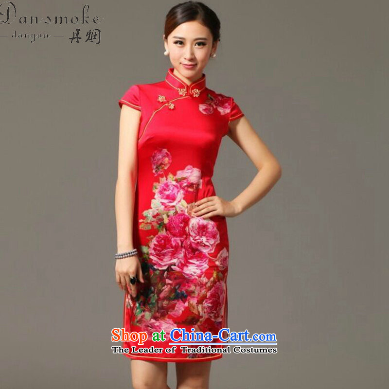 Dan smoke summer New President Dos Santos Silk Cheongsam digital inkjet stretch back door bows service Elegant Silk Cheongsam Figure Color聽S