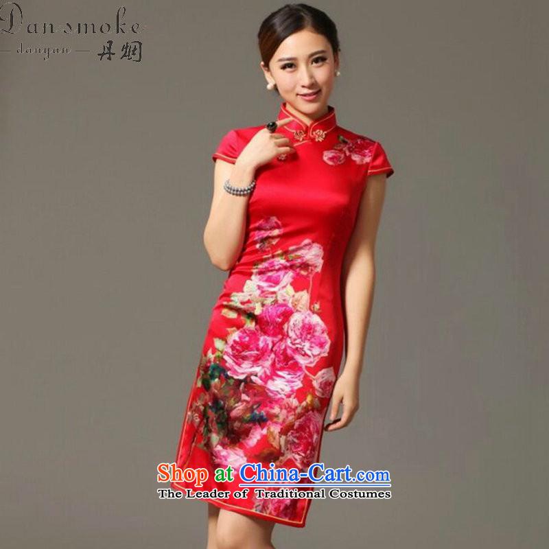 Dan smoke summer New President Dos Santos Silk Cheongsam digital inkjet stretch back door bows service Elegant Silk Cheongsam Figure Color聽S, Dan Smoke , , , shopping on the Internet