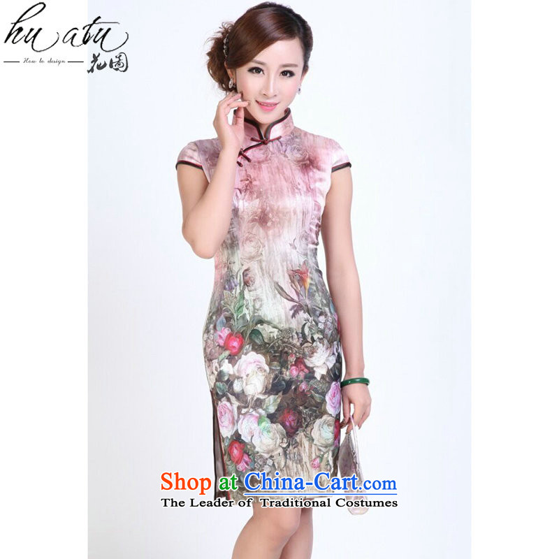 Ms. summer floral qipao heavyweight silk digital inkjet qipao stylish and simple elastic herbs extract short qipao Figure Color燬