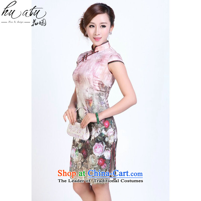 Ms. summer floral qipao heavyweight silk digital inkjet qipao stylish and simple elastic herbs extract short qipao Figure Color聽S, floral shopping on the Internet has been pressed.