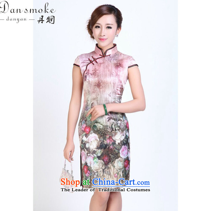 Dan smoke Ms. summer qipao heavyweight silk digital inkjet qipao stylish and simple elastic herbs extract short qipao Figure Color聽S