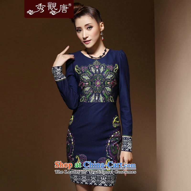 [Sau Kwun Tong] star retro long-sleeved dresses?spring 2015 new positioning spend daily cheongsam dress Blue?M