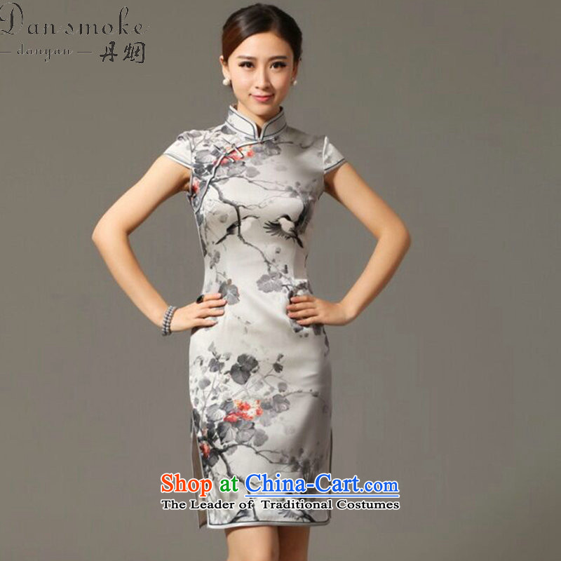 Dan smoke summer new women's dresses Silk Cheongsam Retro classic elegant and noble magpies bad herbs extract qipao Figure Color聽XL