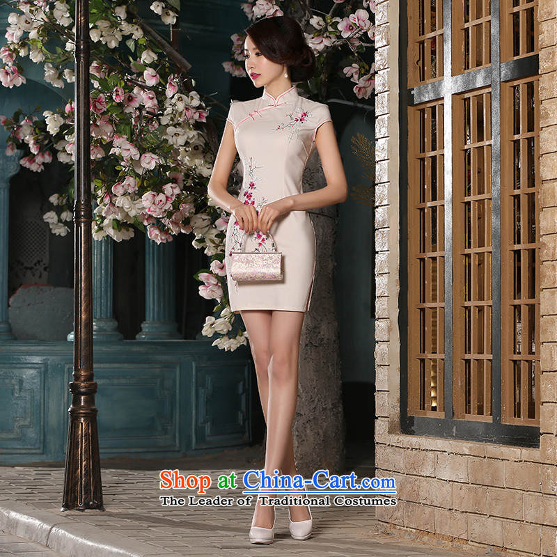 2015 Summer new women's dresses and stylish look elegant dresses improved short, Retro-day cotton qipao gown flesh M Suzhou Shipment