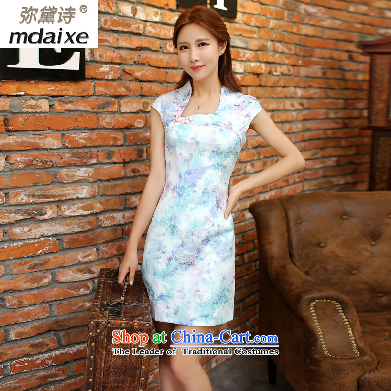 Joice mdaixe bridge retro style qipao improved cheongsam dress summer short of Sau San Foutune of video thin-to-day dress cheongsam dress Summer 9121 Blue聽M