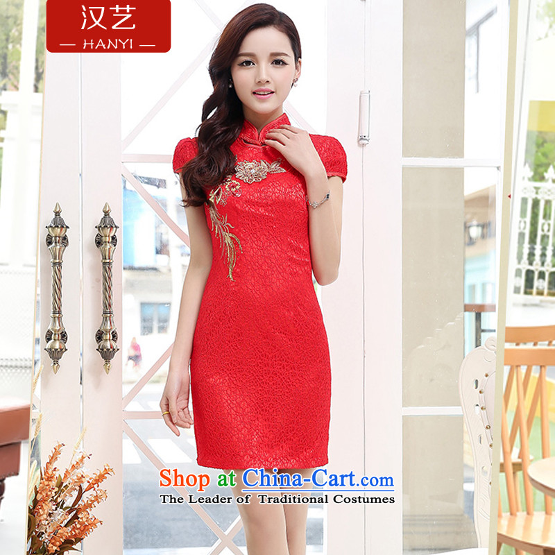 Hon Ronald bride load arts 2015 large embroidery lace large red dress cheongsam dress back door marriage with a drink service red燣